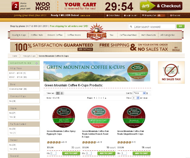 The urgency influence technique on CoffeeForLess site