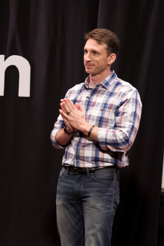 Mike Michalowicz thanking audience at TEDx event